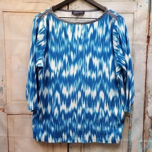 Jones New York Blue Tie Dye Top 3X